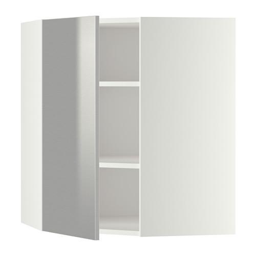 МЕТОД Угловой навесной шкаф с полками - 68x80 см, Гревста нержавеющ сталь, белый