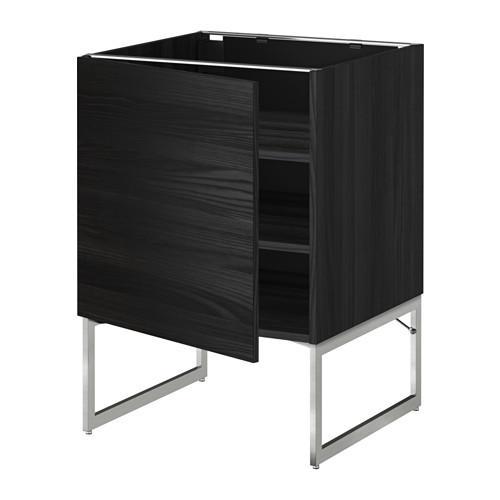 МЕТОД Напольный шкаф с полками - 60x60x60 см, Тингсрид под дерево черный, под дерево черный