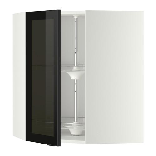 МЕТОД Углов навесн шк с врщ скц/сткл дв - 68x80 см, Ютис дымчатое стекло/черный, белый