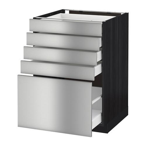 МЕТОД / МАКСИМЕРА Напольный шкаф с 5 ящиками - 60x60 см, Гревста нержавеющ сталь, под дерево черный