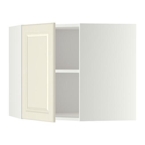МЕТОД Угловой навесной шкаф с полками - 68x60 см, Будбин белый с оттенком, белый