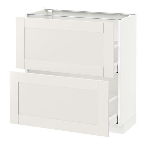 МЕТОД / МАКСИМЕРА Напольный шкаф с 2 ящиками - 80x37 см, Сэведаль белый, белый