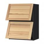 МЕТОД Навесной шкаф/2 дверцы, горизонтал - под дерево черный, Торхэмн естественный ясень, 60x80 см