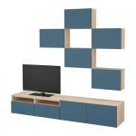 БЕСТО Шкаф для ТВ, комбинация - под беленый дуб/Халлставик темно-синий, направляющие ящика, плавно закр