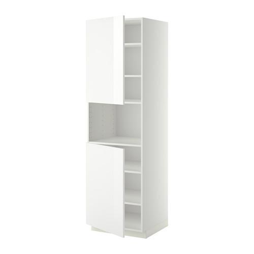 МЕТОД Выс шкаф д/СВЧ/2 дверцы/полки - 60x60x200 см, Рингульт глянцевый белый, белый