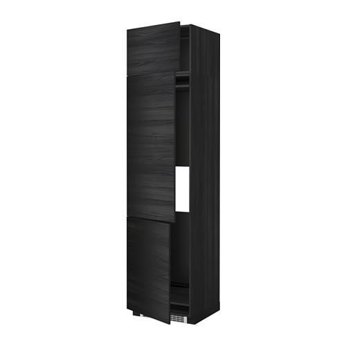 МЕТОД Выс шкаф для хол/мороз с 3 дверями - 60x60x240 см, Тингсрид под дерево черный, под дерево черный