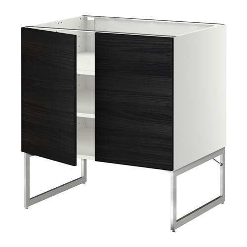 МЕТОД Напол шкаф с полками/2двери - 80x60x60 см, Тингсрид под дерево черный, белый