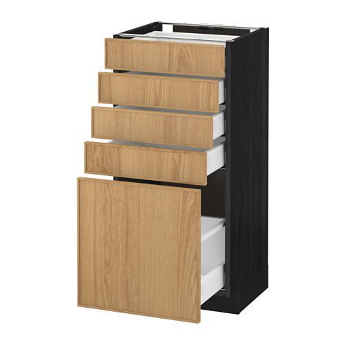 МЕТОД / МАКСИМЕРА Напольный шкаф с 5 ящиками - 40x37 см, Экестад дуб, под дерево черный
