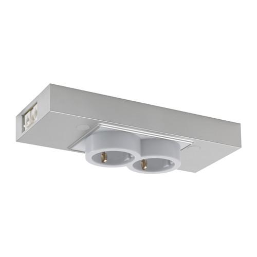 УТРУСТА 2-местный блок с USB-портом - цвет алюминия