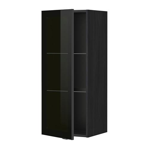 МЕТОД Навесной шкаф с полками/стекл дв - 40x100 см, Ютис дымчатое стекло/черный, под дерево черный