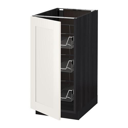 МЕТОД Напольный шкаф с проволочн ящиками - 40x60 см, Сэведаль белый, под дерево черный