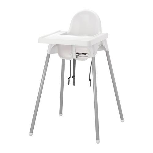 Cadeira alta ANTILOP com bancada branca / prata