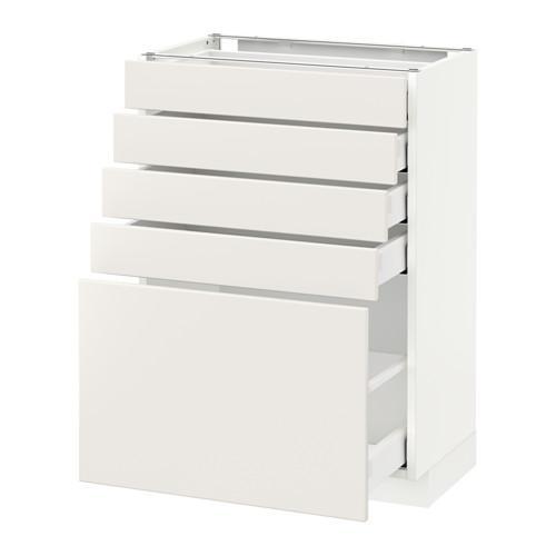 МЕТОД / МАКСИМЕРА Напольный шкаф с 5 ящиками - 60x37 см, Веддинге белый, белый
