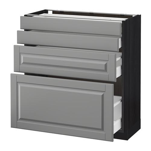 МЕТОД / МАКСИМЕРА Напольн шкаф 4 фронт панели/4 ящика - 80x37 см, Будбин серый, под дерево черный