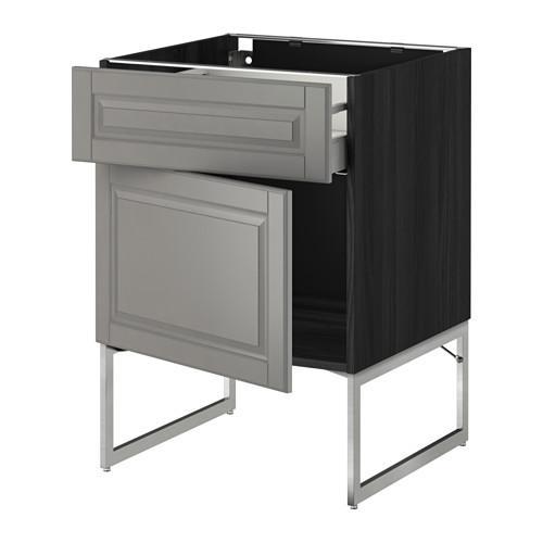 МЕТОД / МАКСИМЕРА Напольный шкаф с ящиком/дверью - 60x60x60 см, Будбин серый, под дерево черный