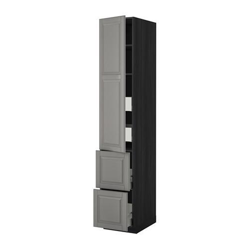 МЕТОД / МАКСИМЕРА Высокий шкаф+полки/4 ящика/2дверцы - 40x60x220 см, Будбин серый, под дерево черный