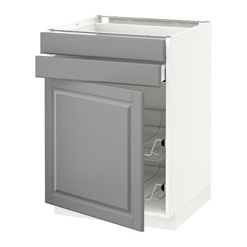 МЕТОД / МАКСИМЕРА Напольн шкаф/дверца/2ящ/првл крзн - 60x60 см, Будбин серый, белый