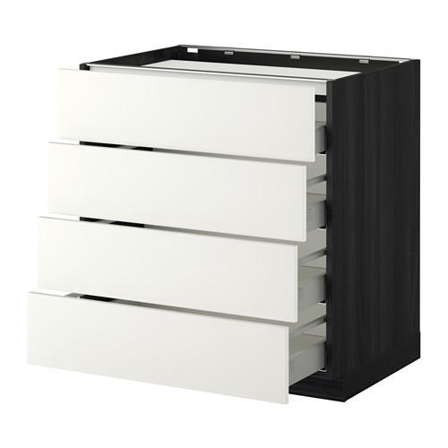 МЕТОД / МАКСИМЕРА Напольн шкаф/4фронт пнл/4ящика - 80x60 см, Хэггеби белый, под дерево черный