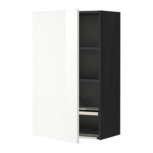 МЕТОД Шкаф навесной с сушкой - 60x100 см, Рингульт глянцевый белый, под дерево черный