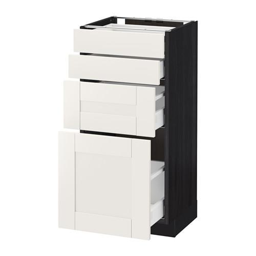 МЕТОД / МАКСИМЕРА Напольн шкаф 4 фронт панели/4 ящика - 40x37 см, Сэведаль белый, под дерево черный