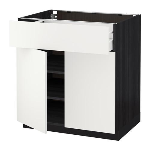 МЕТОД / МАКСИМЕРА Напольный шкаф+ящик/2дверцы - 80x60 см, Хэггеби белый, под дерево черный