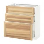 gabinete MÉTODO / Base FORVARA con cajones 3 - blanco, Torhemn fresno natural, 80x37 cm