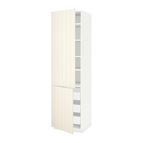 МЕТОД / МАКСИМЕРА Высокий шкаф+полки/3 ящика/2 дверцы - 60x60x220 см, Хитарп белый с оттенком, белый