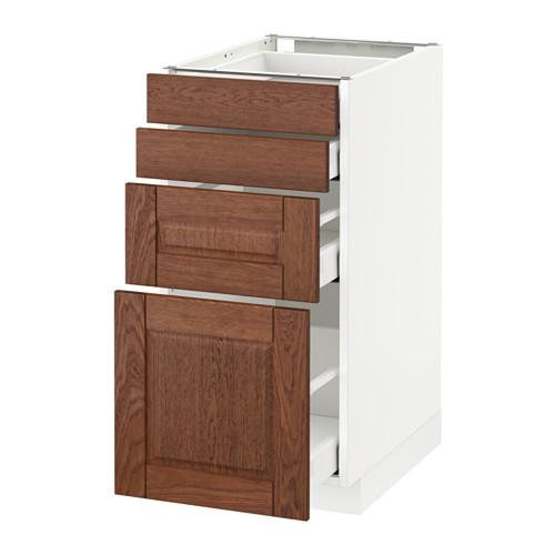 МЕТОД / МАКСИМЕРА Напольн шкаф 4 фронт панели/4 ящика - 40x60 см, Филипстад коричневый, белый