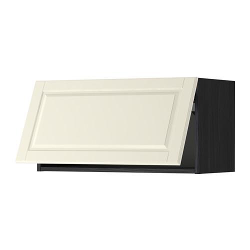 МЕТОД Горизонтальный навесной шкаф - 80x40 см, Будбин белый с оттенком, под дерево черный