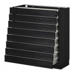 METHOD / FORVARA A filling cabinet front 8 / 8 low drawers - wood black, Tingsrid wood black, 80x37 cm