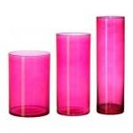 ЦИЛИНДР Набор ваз,3 штуки - розовый