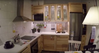 The interior of a small L-shaped IKEA kitchen