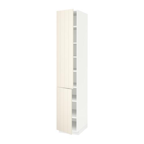 МЕТОД Высокий шкаф с полками/2 дверцы - 40x60x220 см, Хитарп белый с оттенком, белый