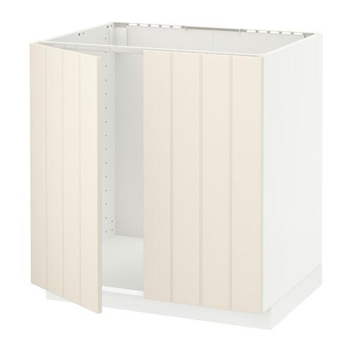 МЕТОД Напольн шкаф д раковины+2 двери - Хитарп белый с оттенком, белый