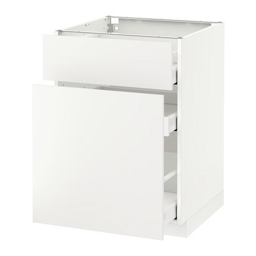 МЕТОД / МАКСИМЕРА Напольн шкаф/выдвижн секц/ящик - 60x60 см, Хэггеби белый, белый