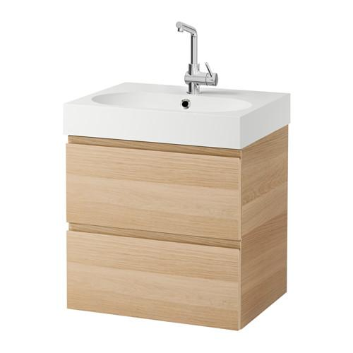 BRÅVIKEN / GODMORGON sink cabinet with 2 crate for bleached oak 61x49x68 cm