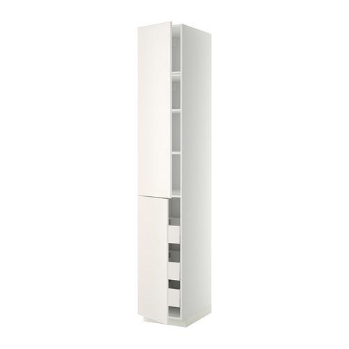 МЕТОД / МАКСИМЕРА Высокий шкаф+полки/3 ящика/2 дверцы - 40x60x240 см, Веддинге белый, белый