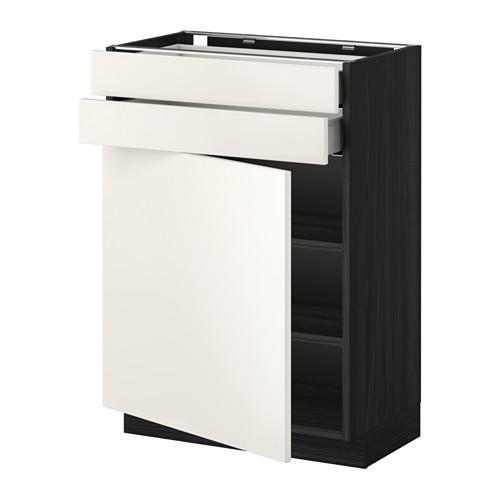 МЕТОД / МАКСИМЕРА Напольный шкаф с дверцей/2 ящиками - под дерево черный, Веддинге белый, 60x37 см