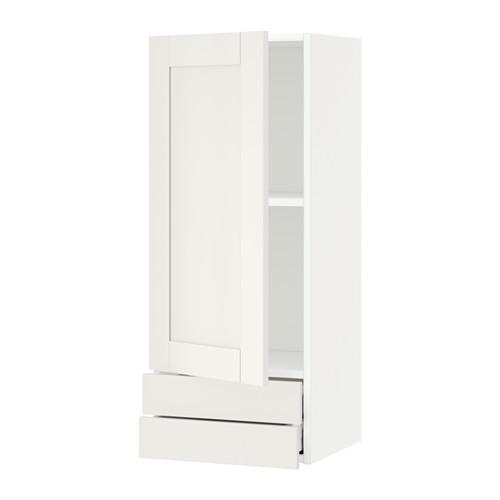 МЕТОД / МАКСИМЕРА Навесной шкаф с дверцей/2 ящика - 40x100 см, Сэведаль белый, белый
