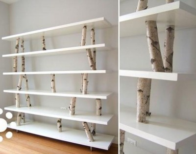 The idea of ​​the design of the rack shelf IKEA and natural bezery