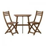 АСКХОЛЬМЕН Балконный стол+2 складных стула