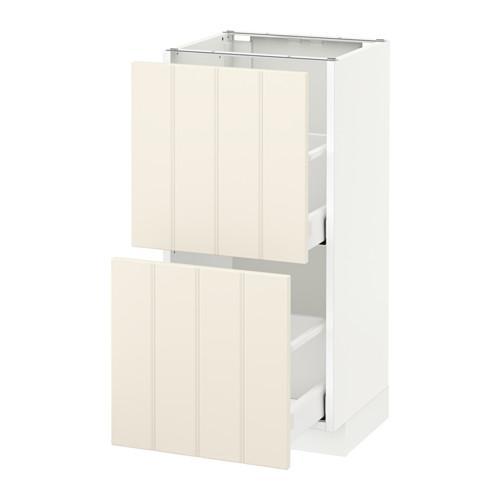 МЕТОД / МАКСИМЕРА Напольный шкаф с 2 ящиками - 40x37 см, Хитарп белый с оттенком, белый