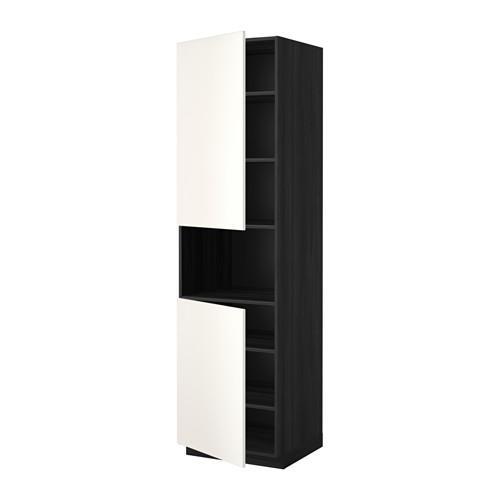 МЕТОД Выс шкаф д/СВЧ/2 дверцы/полки - 60x60x220 см, Веддинге белый, под дерево черный