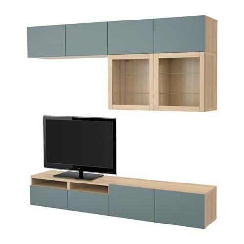 best tv schrank kombination glast r ein gebleichter eiche valviken grau und t rkis. Black Bedroom Furniture Sets. Home Design Ideas