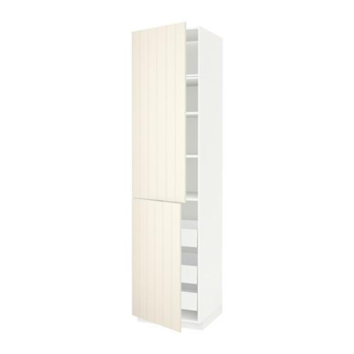 МЕТОД / МАКСИМЕРА Высокий шкаф+полки/3 ящика/2 дверцы - 60x60x240 см, Хитарп белый с оттенком, белый