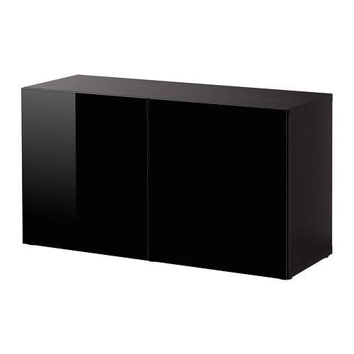 БЕСТО Стеллаж с дверьми - черно-коричневый/Сельсвикен глянцевый/черный