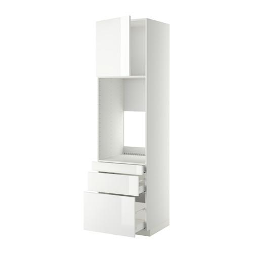 МЕТОД / МАКСИМЕРА Выс шкаф д/двойн духовки/3ящ/дверца - 60x60x220 см, Рингульт глянцевый белый, белый