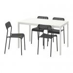 MELLTORP / ADDE table et chaise 4 blanc / noir