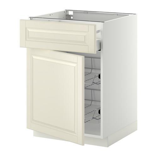 МЕТОД / МАКСИМЕРА Напольн шкаф с пров корз/ящ/дверью - 60x60 см, Будбин белый с оттенком, белый