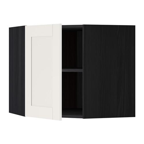 МЕТОД Угловой навесной шкаф с полками - 68x60 см, Сэведаль белый, под дерево черный